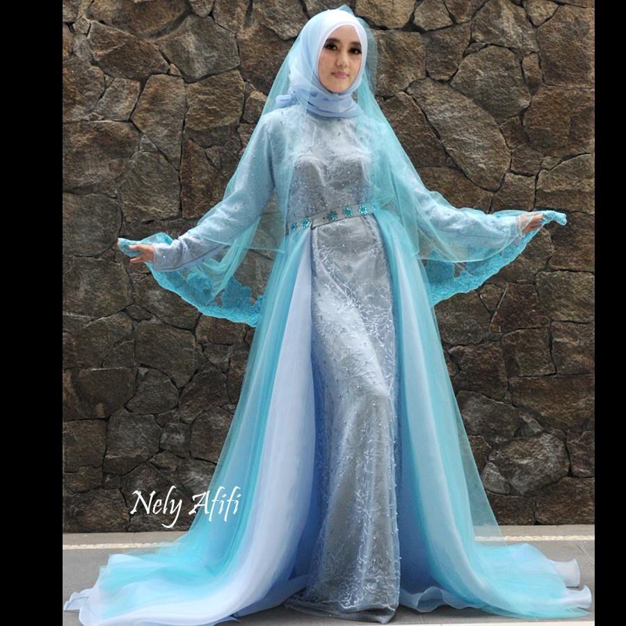 Gaun Pengantin Muslimah Biru  Gaun, Gaun pengantin, Pengantin