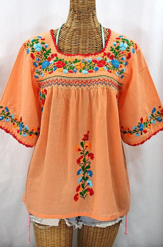 b0125a5b9dc02e Mexican Peasant Blouse Top Hand Embroidered