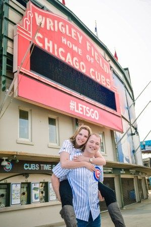 Engagement Wrigley Field Chicago Wedding Photographer Cubs Stadium