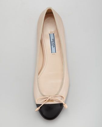 01dca71d618 Prada Bicolor Leather Cap-Toe Ballerina Flat