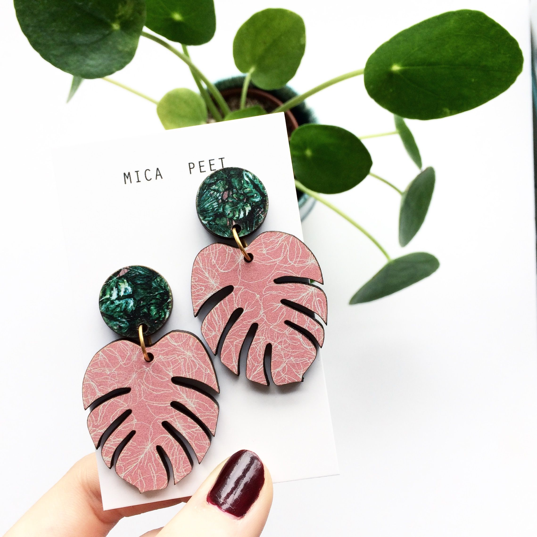 23effab1c Pink Monstera Leaf Earrings -Mica Peet | STYLE | Pinterest