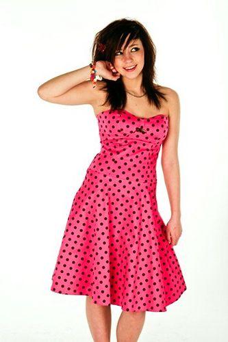 Rockabilly Hot Pink Strapless Polka Dot Dress | Hot pink outfit, Rockabilly  wedding dresses, Dresses
