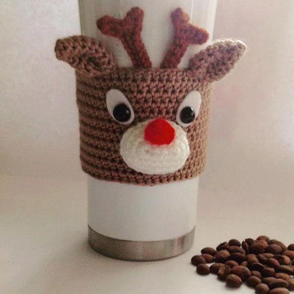 Crochet Rudolph Reindeer Coffee Cozy Christmas Cup Sleeve Reindeer Cozy Crochet To Go Cozy Hand Cup Cozy Crochet Pattern Crochet Mug Cozy Crochet Cup Cozy