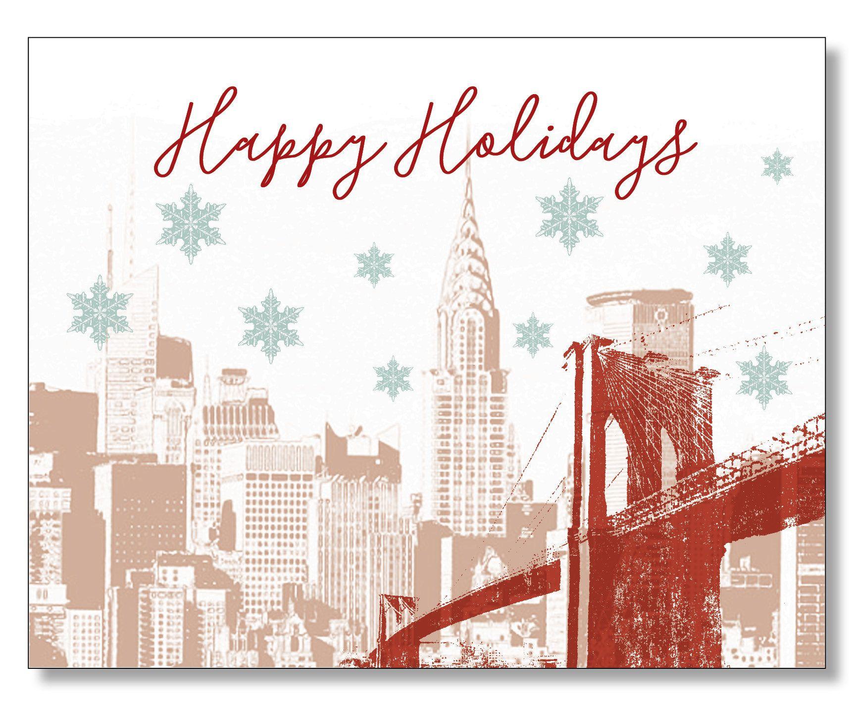 New York City Christmas Card, Manhattan Brooklyn Holiday Card ...