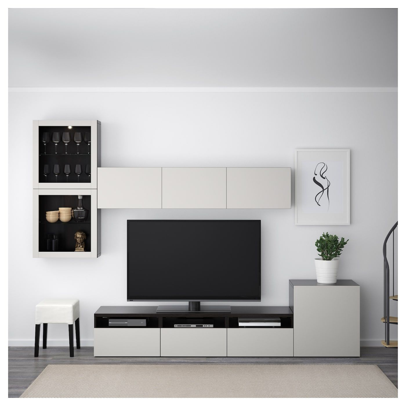 Besta Tv Storage Combination Glass Doors Black Brown Lappviken Light Gray Clear Glass 118 1 8x7 7 8 15 3 4x83 1 8 300x20 40x211 Cm Living Room Tv Living Room Tv Wall Tv Storage