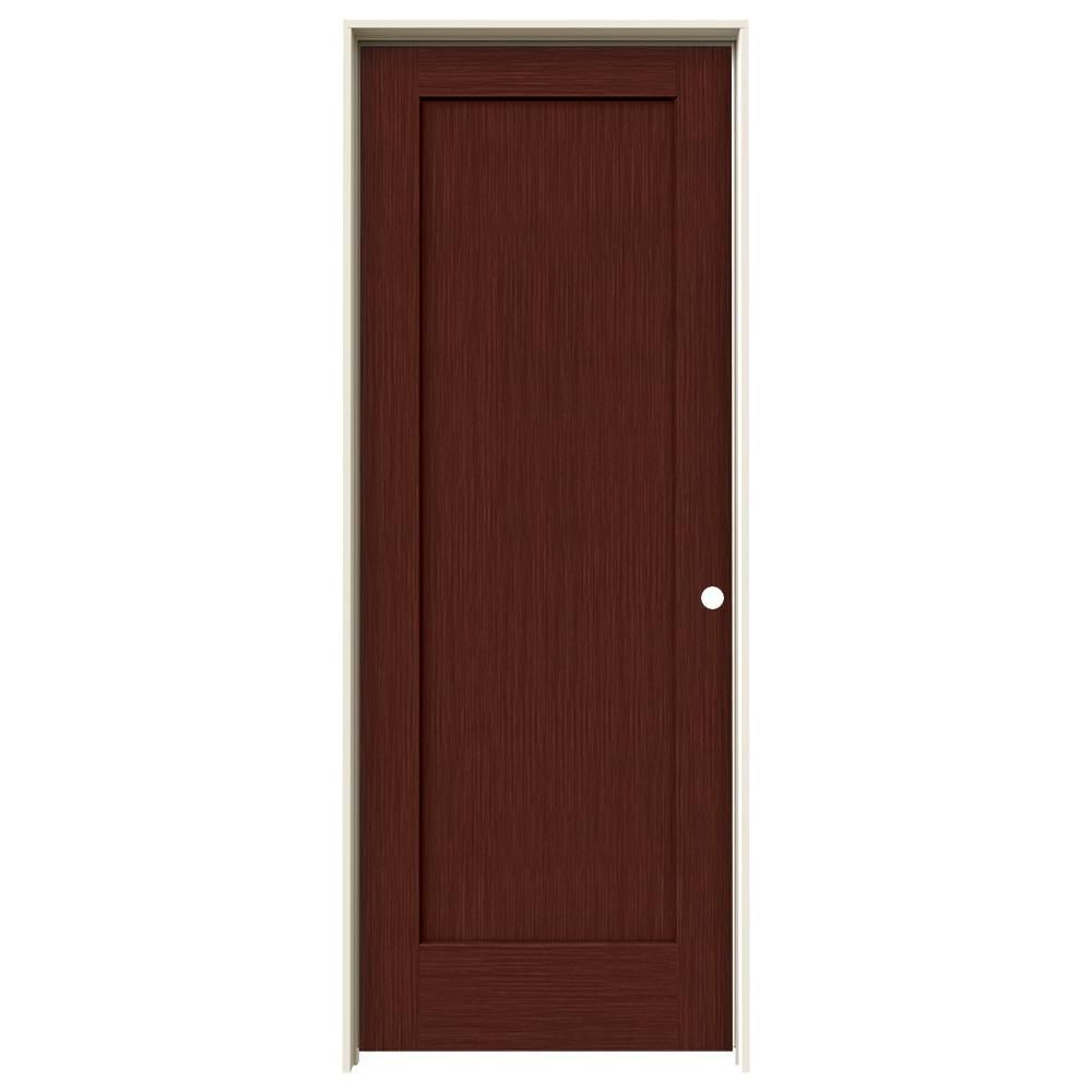 Jeld Wen 32 In X 80 In Madison Black Cherry Stain Left Hand Solid
