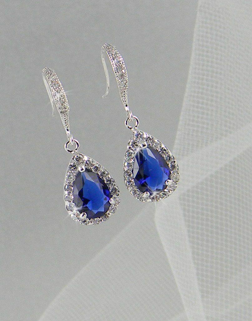 Crystal Bridal Earrings Dark Sapphire Blue Wedding Jewelry, Crystal Wedding  Earrings, Cobalt Blue Bridal Jewelry, Ariel Earrings