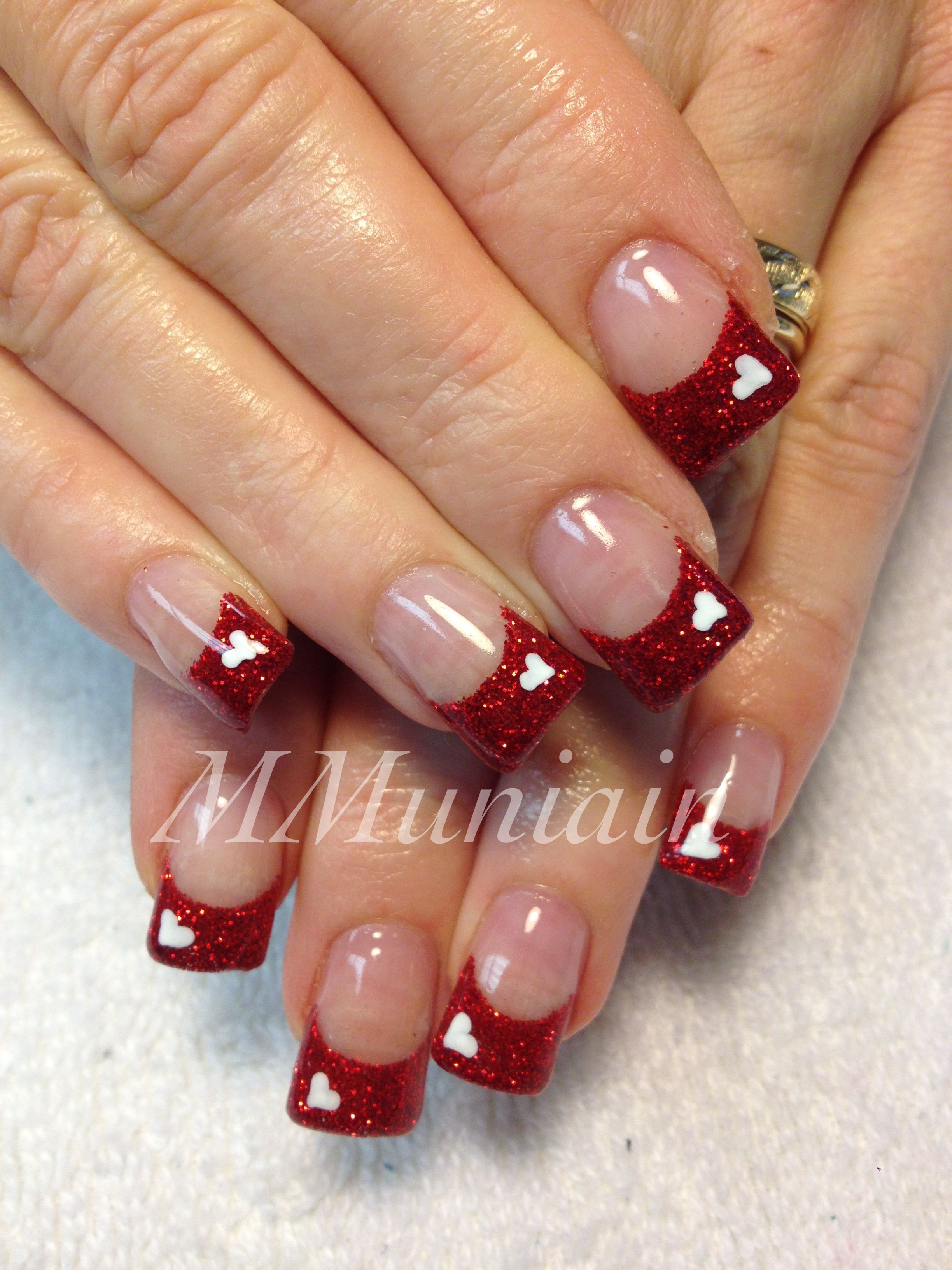 Valentine Nails I Would Do White Tips With Red Heart But Maybe Not This Is Growing On Me Nail Designs Valentines Valentines Nails Holiday Nails