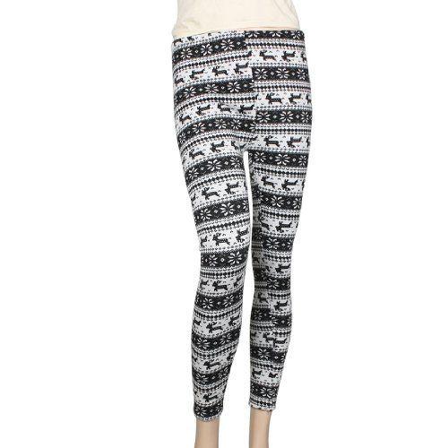 Allegra K Women Xmas Winter Warm Snowflakes Deer Print Leggings Skinny Pants XS Allegra K. $11.84