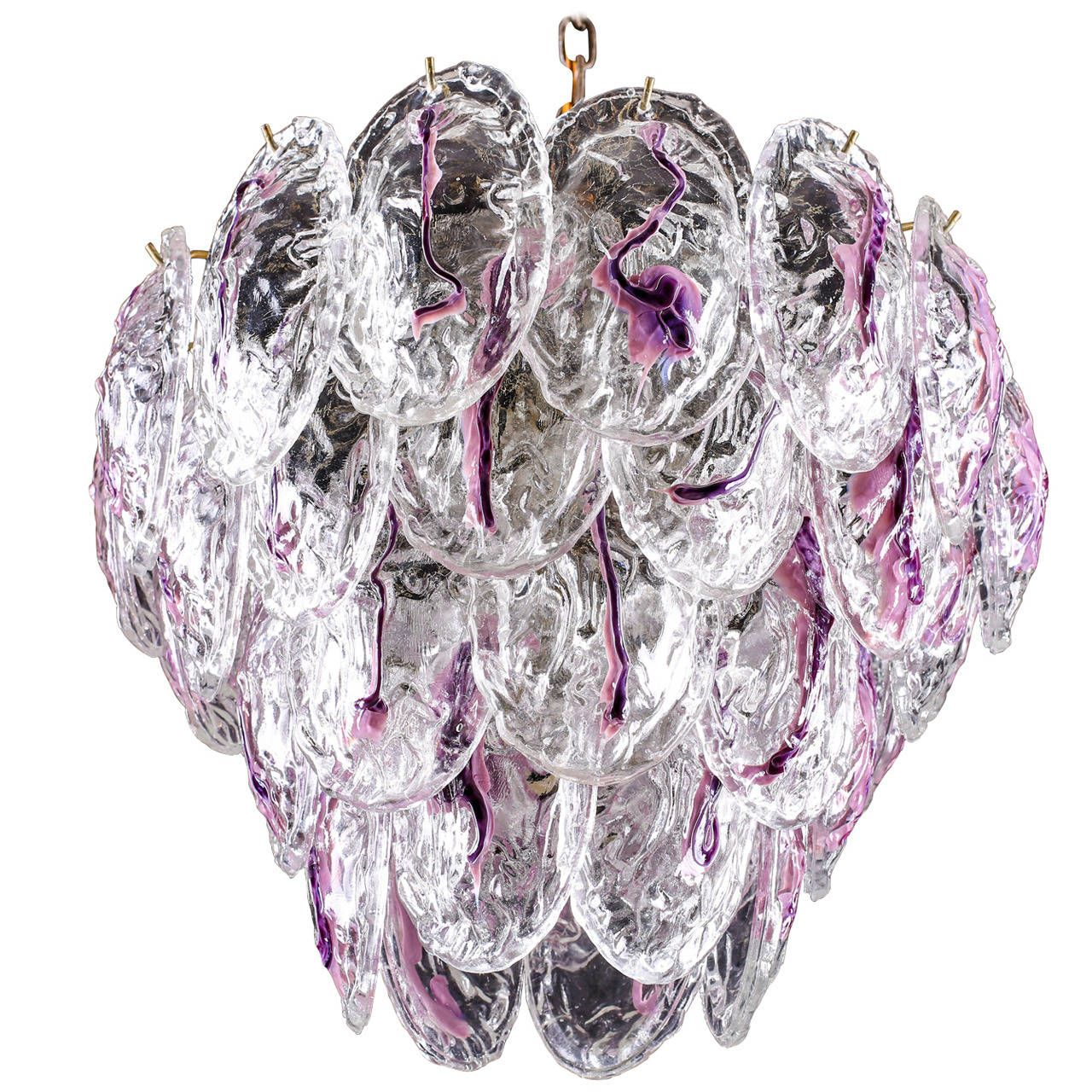 Vintage murano glass petal chandelier by mazzega murano glass