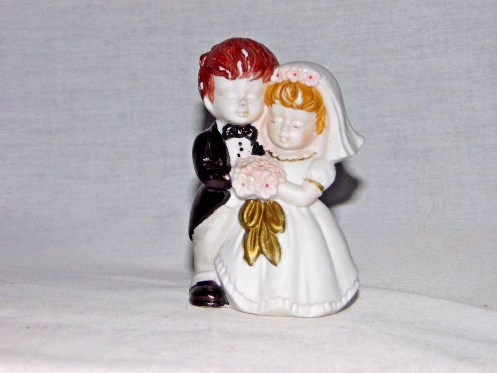 """Vintage Wedding Cake Topper Figurine Bride Groom Ceramic blonde brunette 4"""" tall #Unbranded"""