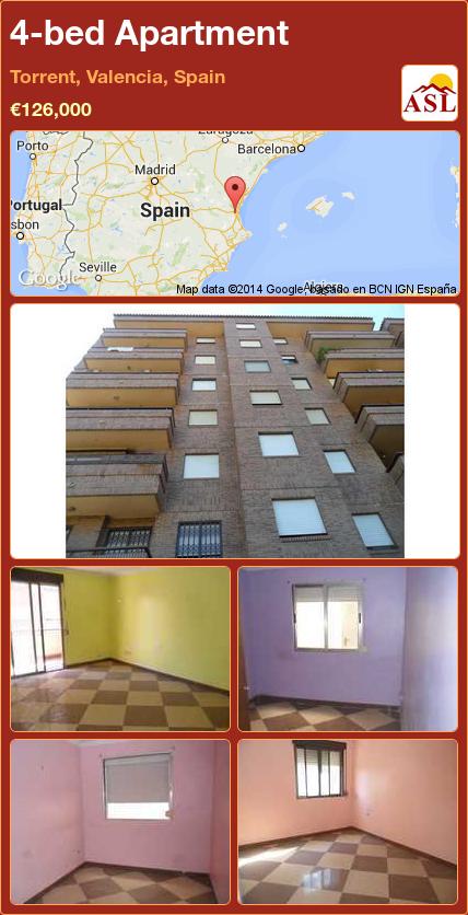 4-bed Apartment in Torrent, Valencia, Spain ►€126,000 #PropertyForSaleInSpain
