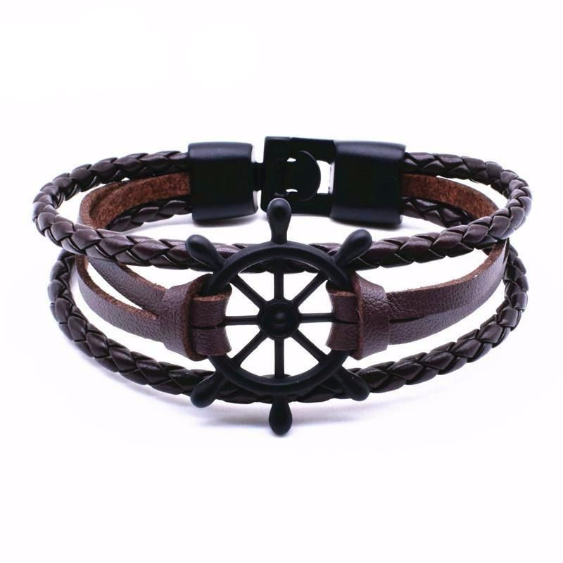 Adventurous Anchor Braided Nautical Leather Bracelets 8 Variants