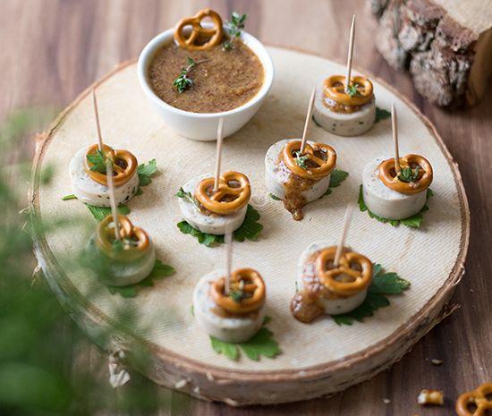 Saltletts Inspiration – Weißwurst-Spieße mit Mini-Salzbrezeln #appetizersforparty