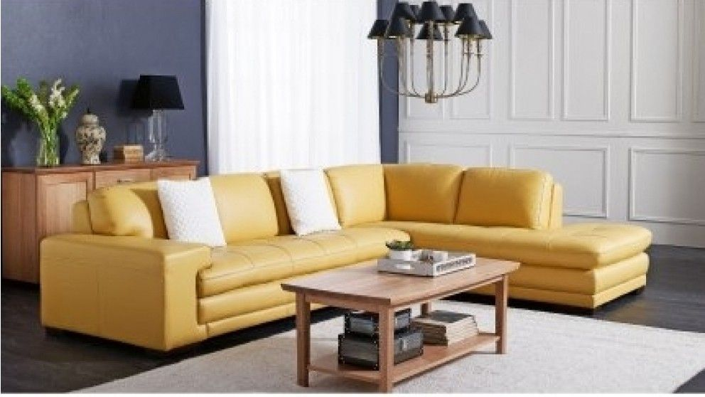 Dylan 3 Seater Leather Sofa with Chaise - Lounges - Living Room ...