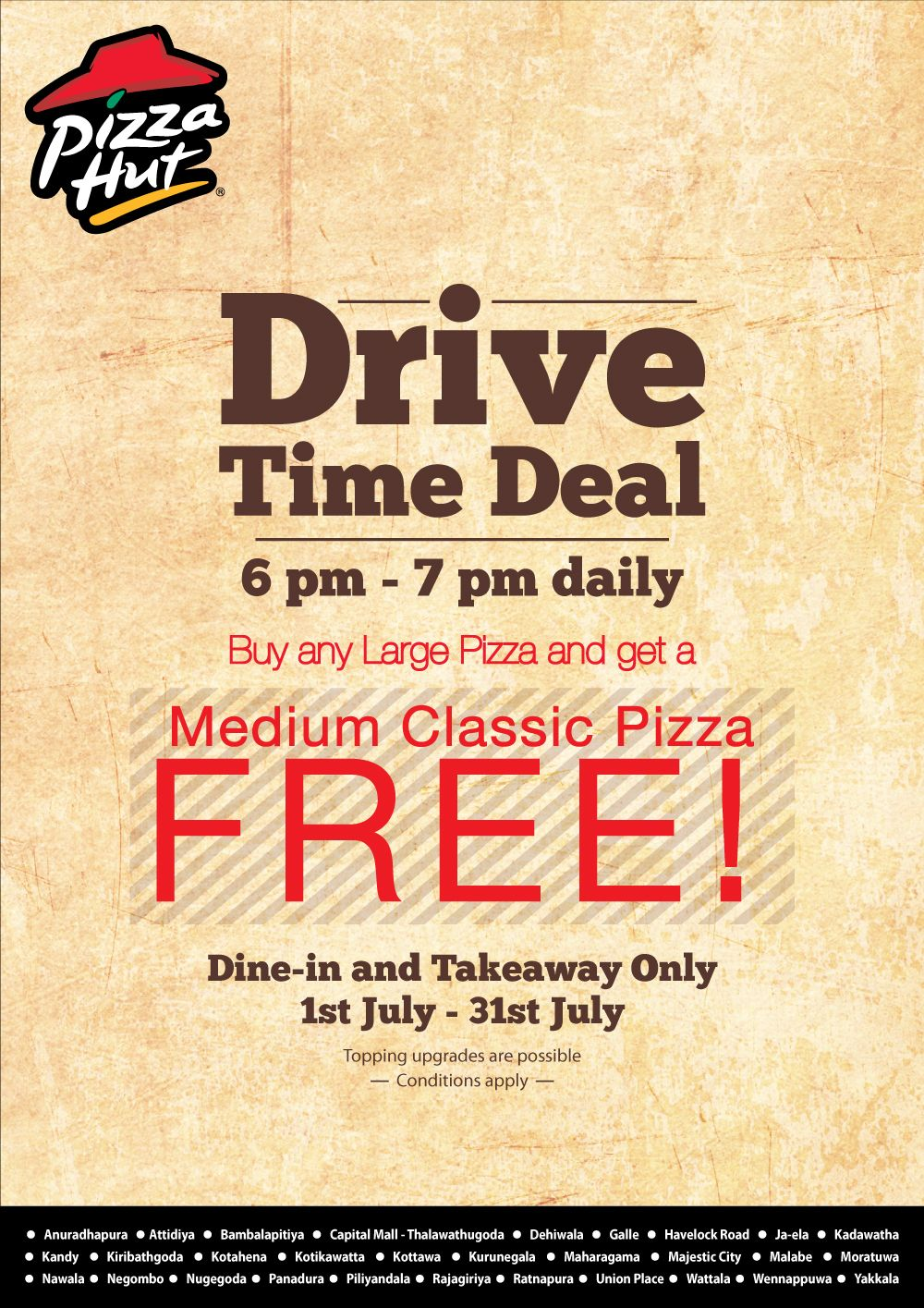Drive Time Deal from Pizza Hut Classic pizza, Large