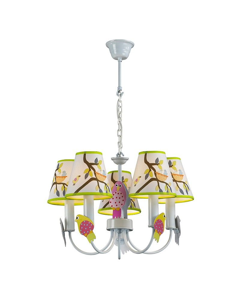 5 Lights Birds & Tree Theme Chandelier for Kids' Room