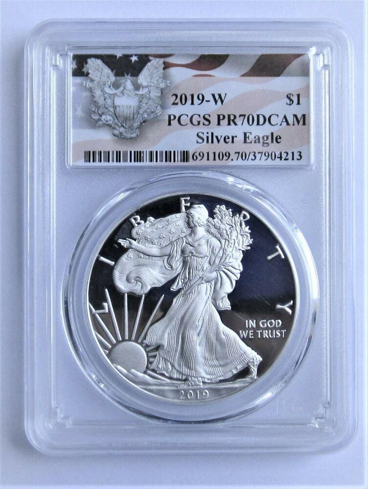 2019 W 1 American Silver Eagle Pcgs Pr70dcam Eagle Label 322