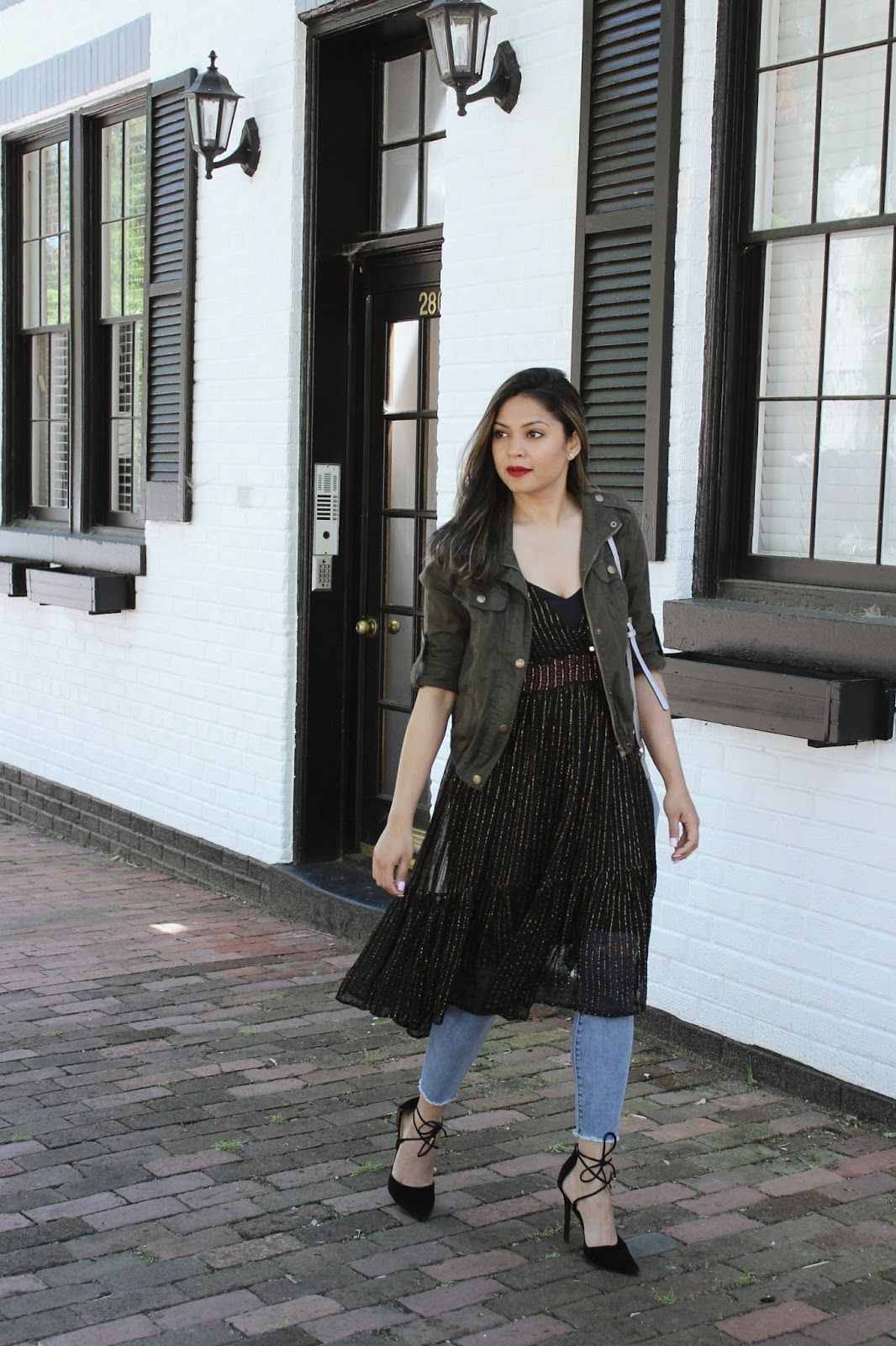 Dress Over Jeans Outfit Black Lace Up Heels Street Style Lbd Ootd Outfit Fashion Street Myriad Musings Li Fashion Dress Over Jeans Black Lace Up Heels [ 1600 x 1066 Pixel ]