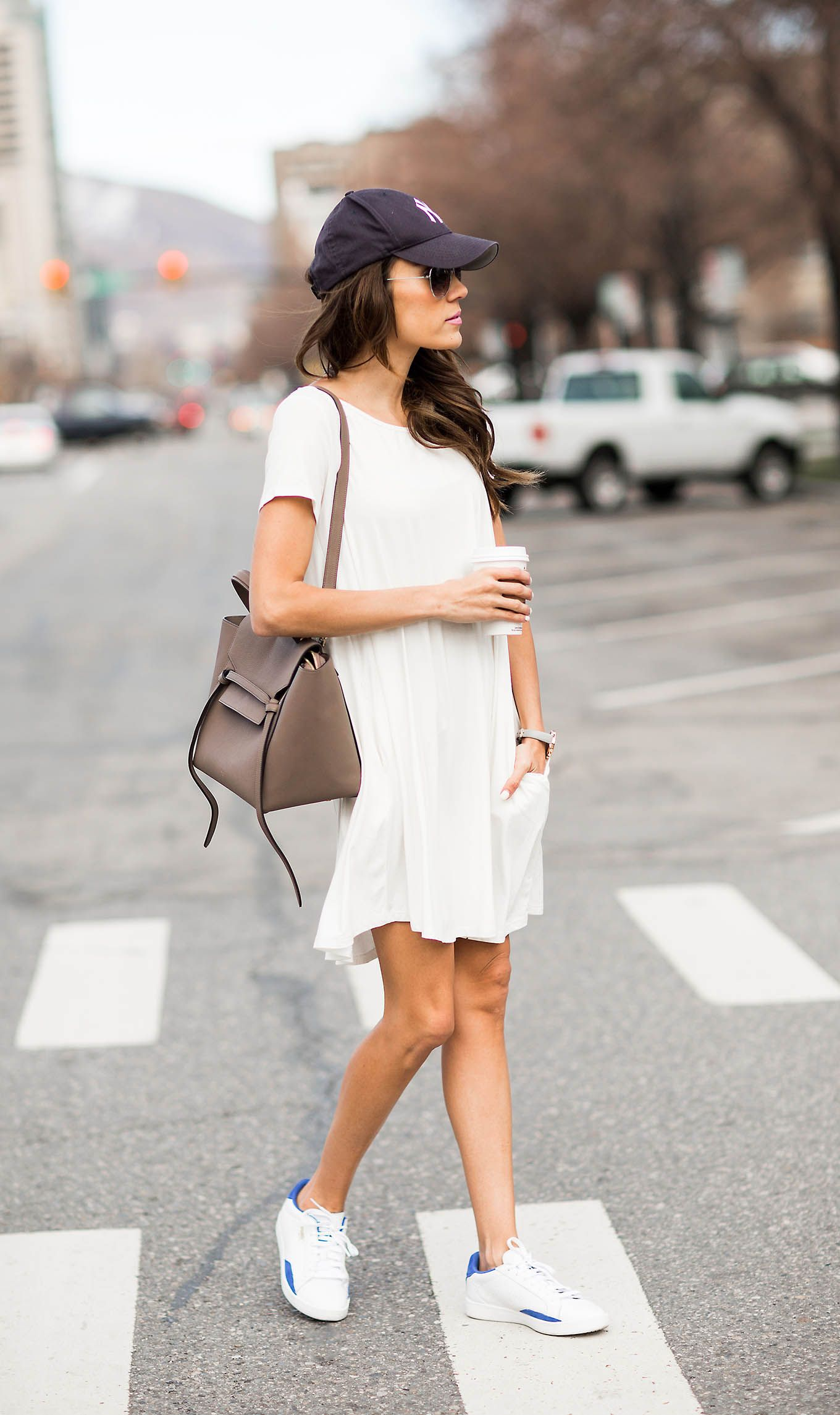 3 Ways To Wear Your Favorite Sneakers From Day To Night Hello Fashion Dress With Sneakers Casual Outfits Fashion [ 2289 x 1360 Pixel ]