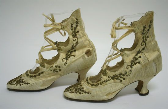 Beaded Lace Up Shoes - c. 1910