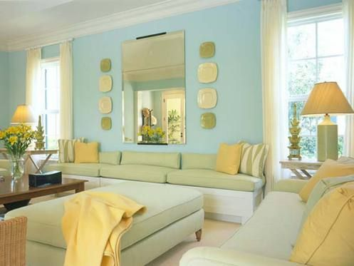 Light Blue Aqua And Yellow Beachy Living Room Blue And Yellow