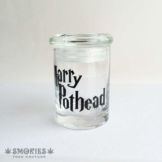 Glass Jar Black Letters Harry PotHead Airtight pop top
