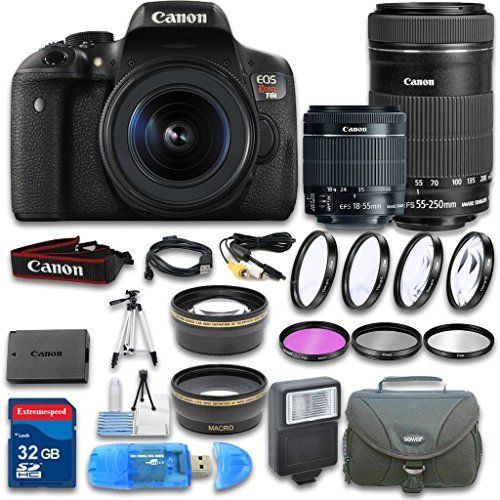 Canon EOS T6i DSLR Camera + Canon EF-S 18-55mm f/3.5-5.6 IS STM Lens + Canon EF-S 55-250mm f/4-5.6 IS STM Lens + Wideangle Lens + Telephoto Lens + 32 GB SD Card + 3 PC Filter - International Version