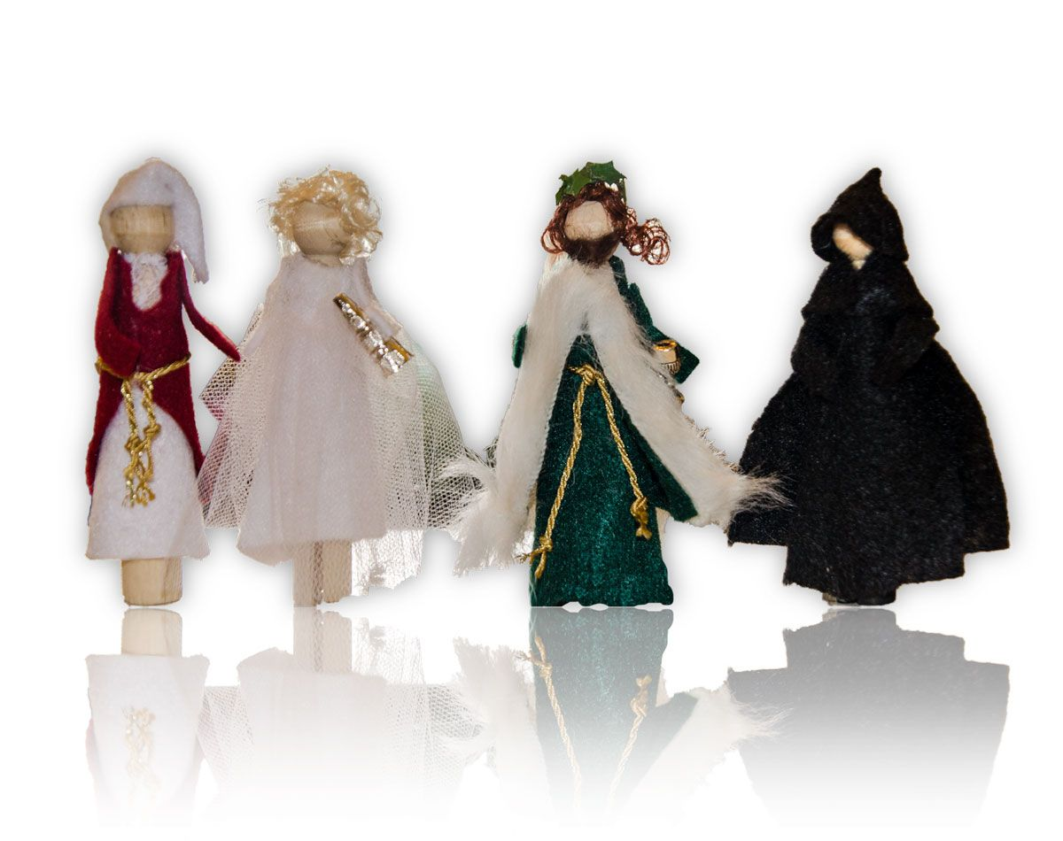 Ebenezer Scrooge and the Ghosts of Christmas Past, Christmas Present ...