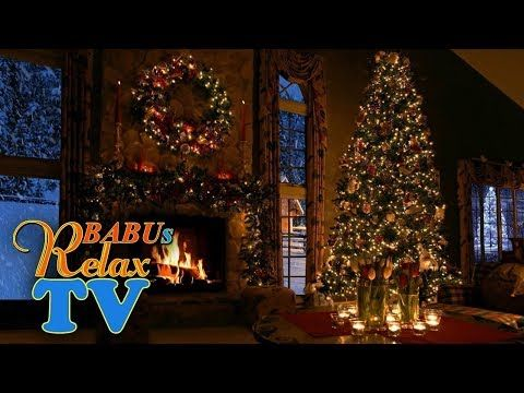 9 HOURS Christmas Fireplace Scene with Snow and Crackling Fire