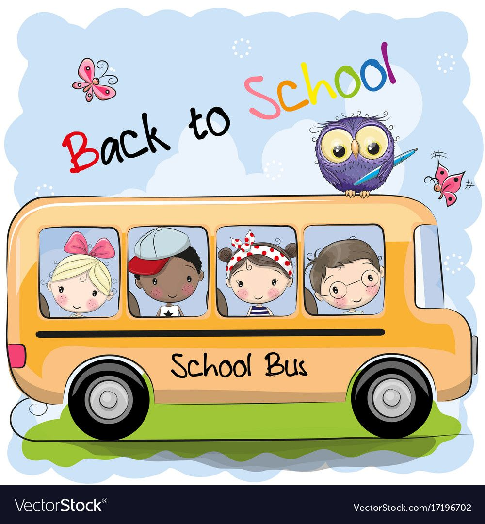 School Bus And Four Cute Cartoon Kids And Owl Download A Free Preview Or High Quality Adobe Illustrator Ai E Cartoon School Bus School Bus Art School Cartoon