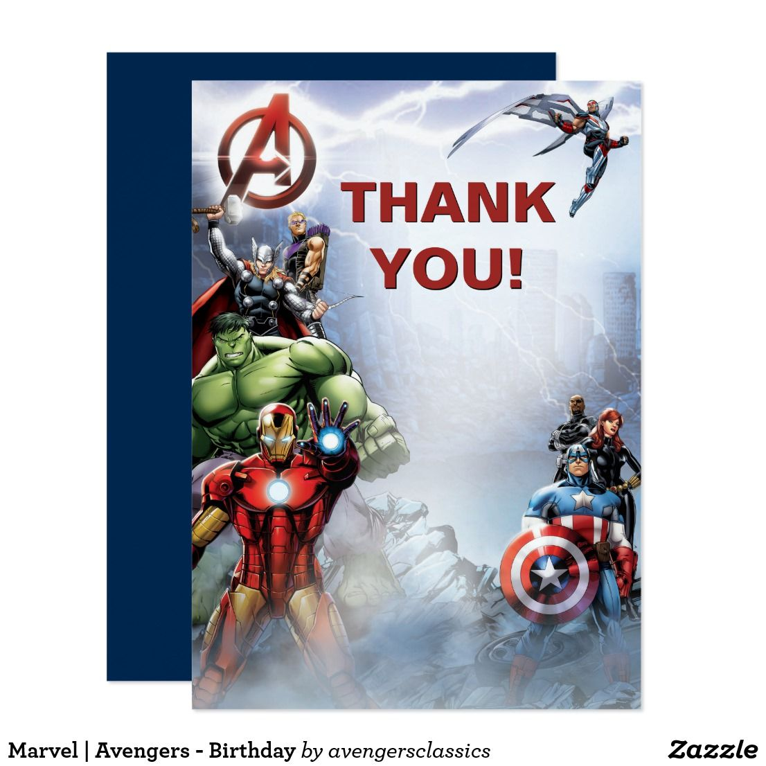 Marvel Avengers Birthday Thank You Card Zazzle Com Birthday Thank You Cards Birthday Card Template Avengers Birthday