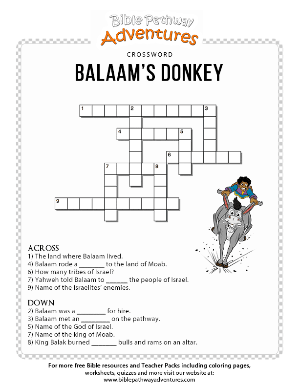 Free Bible Crossword Puzzle: Balaam's Donkey | 5th grade ...