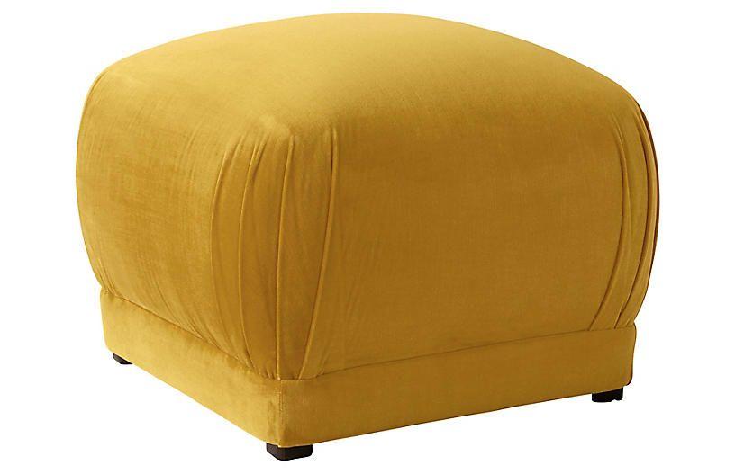 Benton Ottoman Mustard Velvet Cloth Company Frame