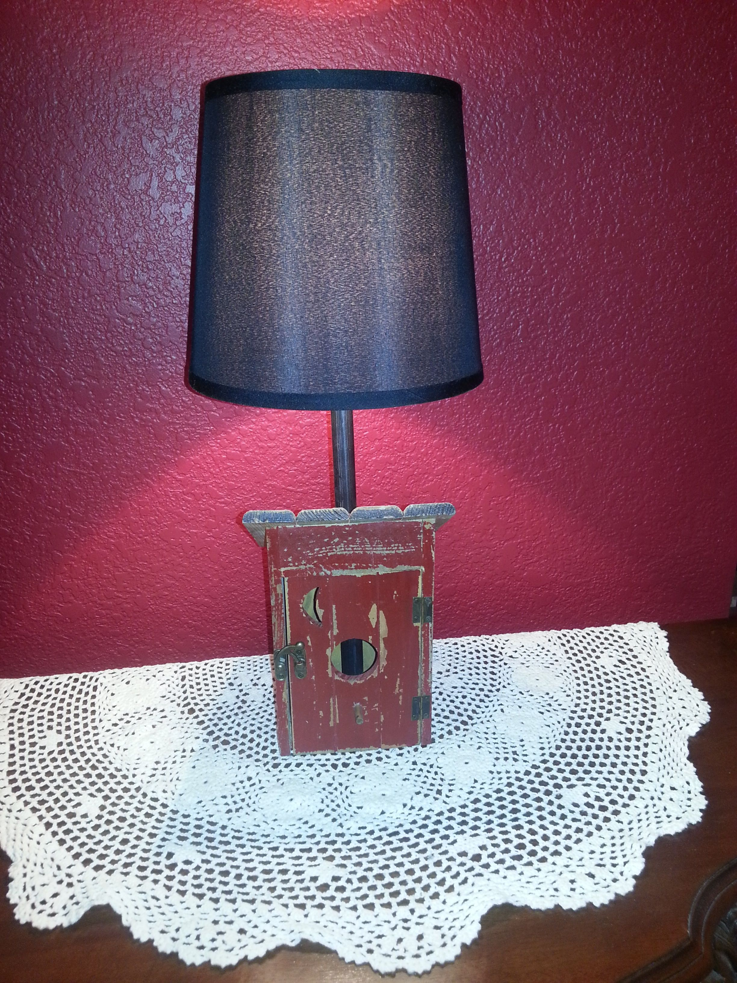 Outhouse table lamp great for the cabin or bathroom red base with outhouse table lamp great for the cabin or bathroom red base with black lamp shade lamp for sale or have oodleboo lamps make one custom for you mozeypictures Image collections