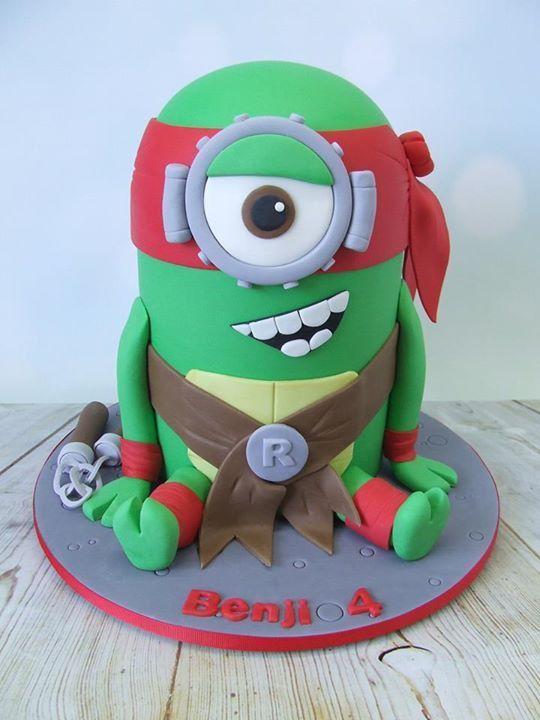 Ninja turtle minion cake cupcakescake ideas Pinterest Minion