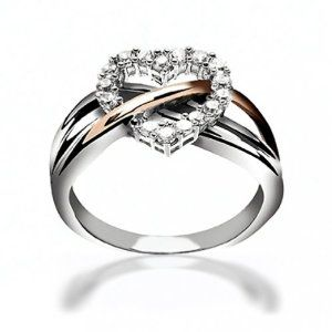 Two Tone Heart Shaped Curved Open CZ Engagement Promise ...