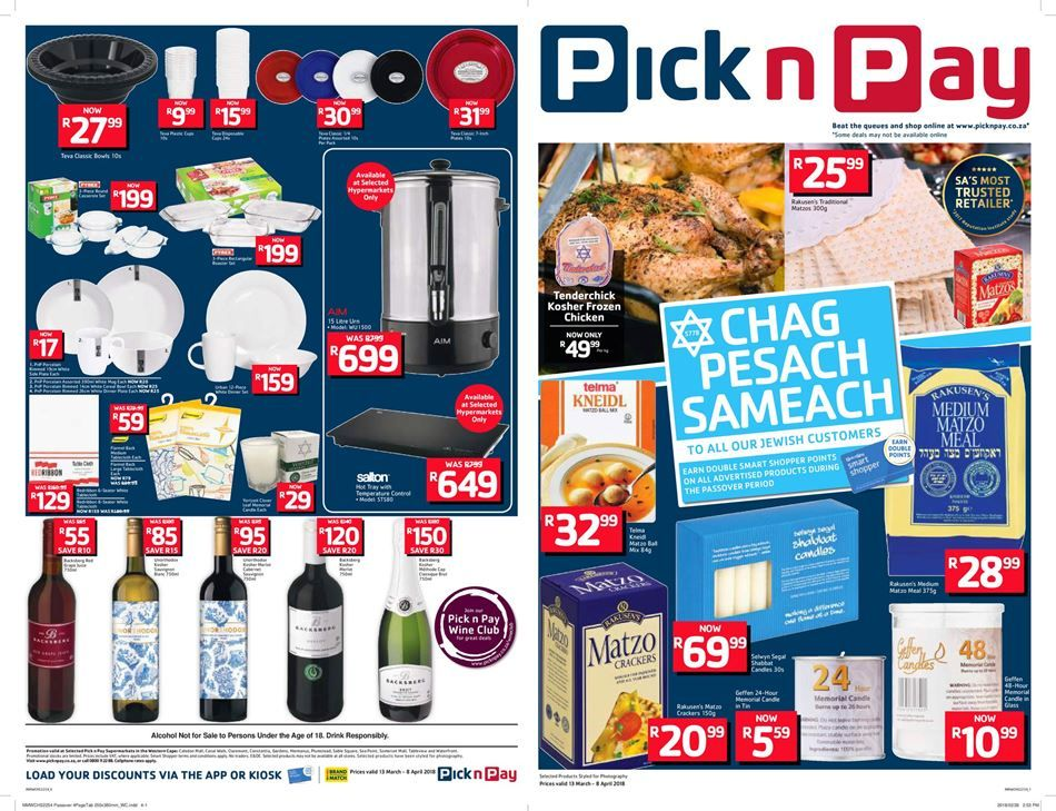 Pick N Pay Specials 26 March 8 April 2018 Grocery Deals Kosher Chicken Paying
