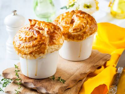 Bite-sized chicken pot pies.  A great lunch for a cold winter day.