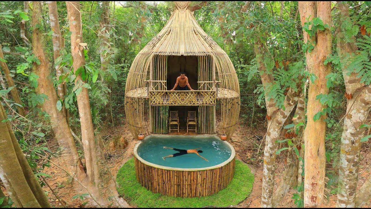 Build The Most Beautiful Swimming Pool In Front Of The Modern Two Story Bamboo House Youtube Bamboo House Swimming Pools Building Techniques