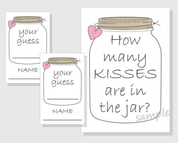 photograph relating to Guess How Many Kisses for the Soon to Be Mrs Free Printable referred to as How plenty of KISSES are within just the jar? Printable Video game - Rustic