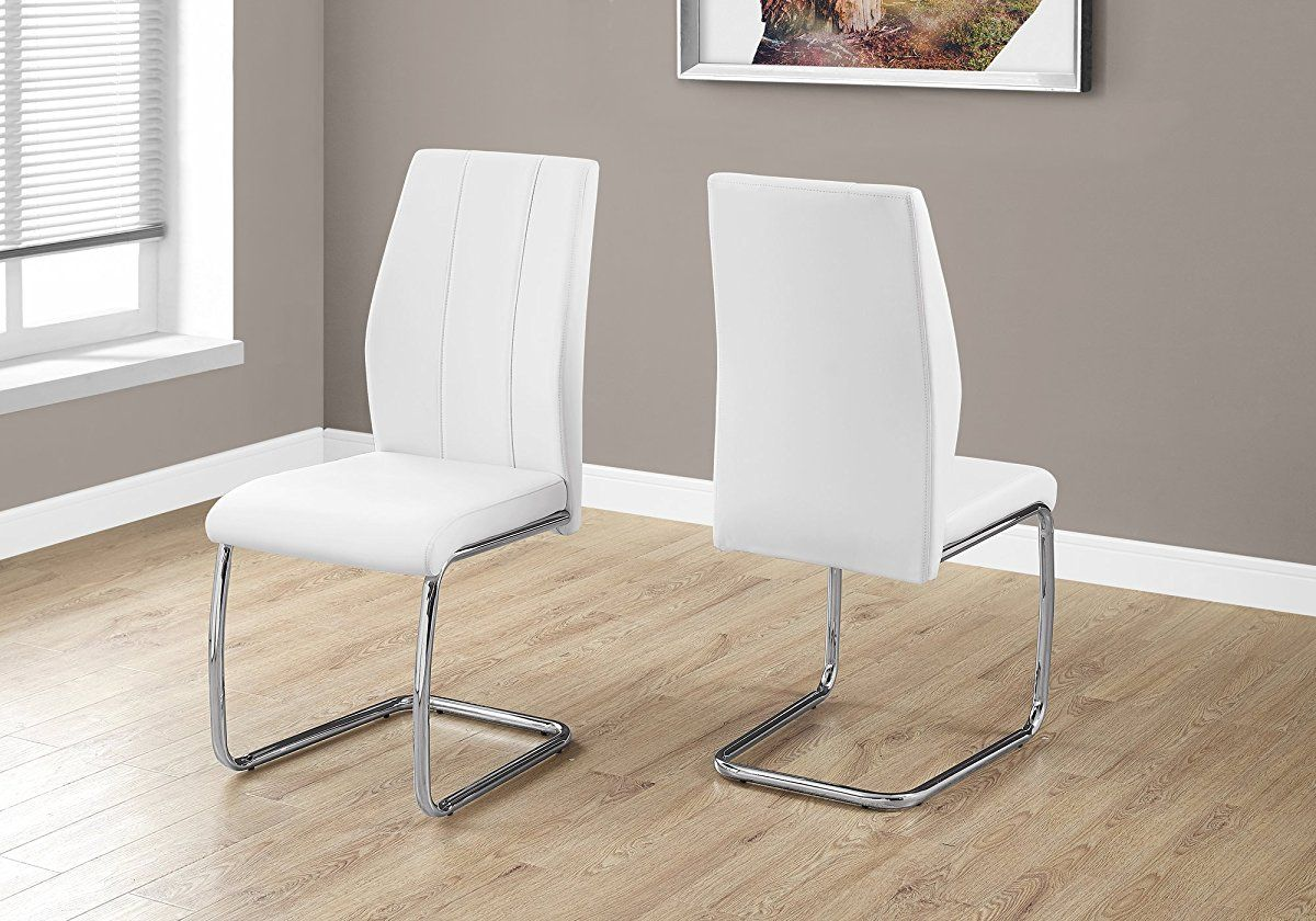 Monarch Specialties I 1075 2 Piece Dining Chair 2pcs 39 H Leather Look Chrome White Leather Dining Chairs Side Chairs Dining Contemporary Dining Chairs