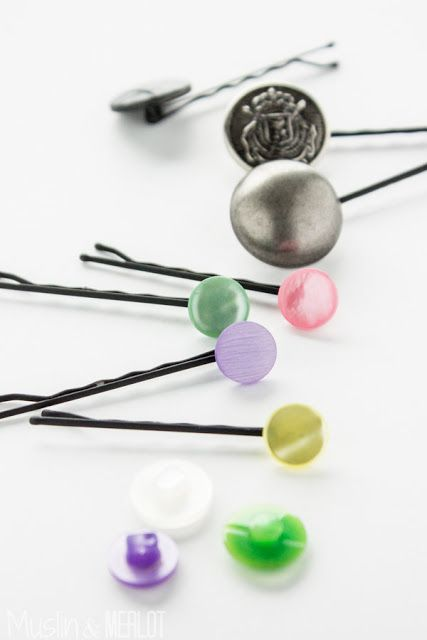 Button Bobby Pins. Just slip the straight side of a bobby pin through the back of the button!