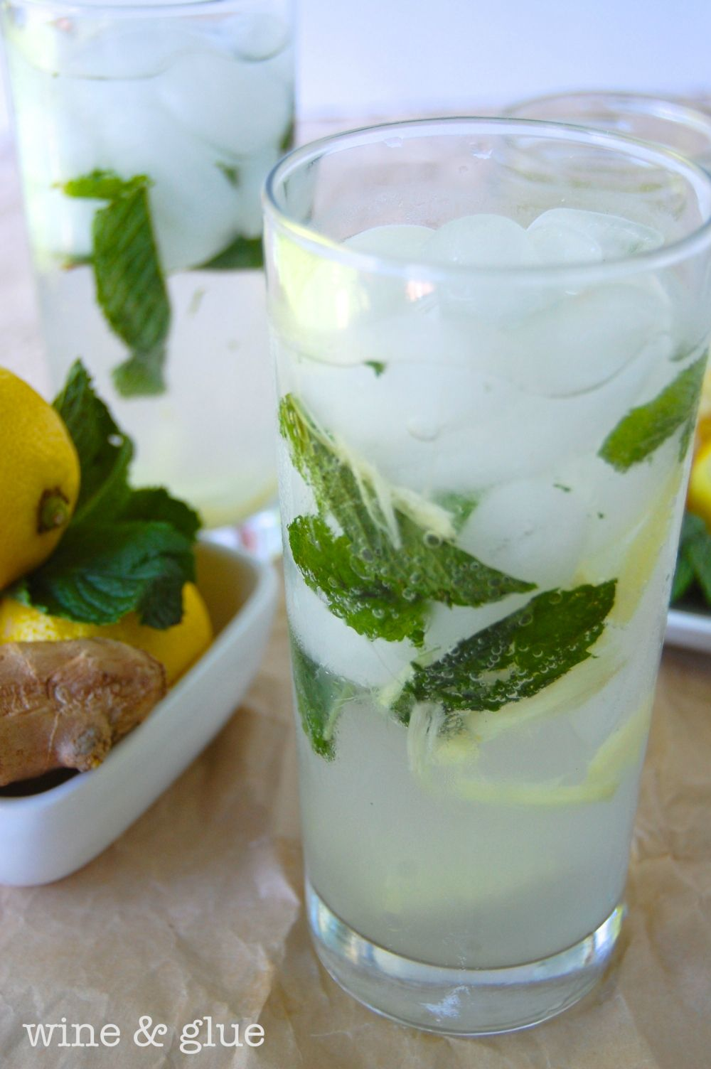 Lemon Ginger Mojito On Myrecipemagic Com Healthy Cocktails Flavored Water Recipes Ginger Mojito
