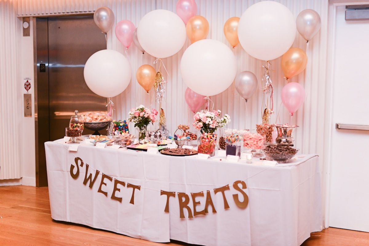 Diy candy buffet balloon backdrop backdrops and bar