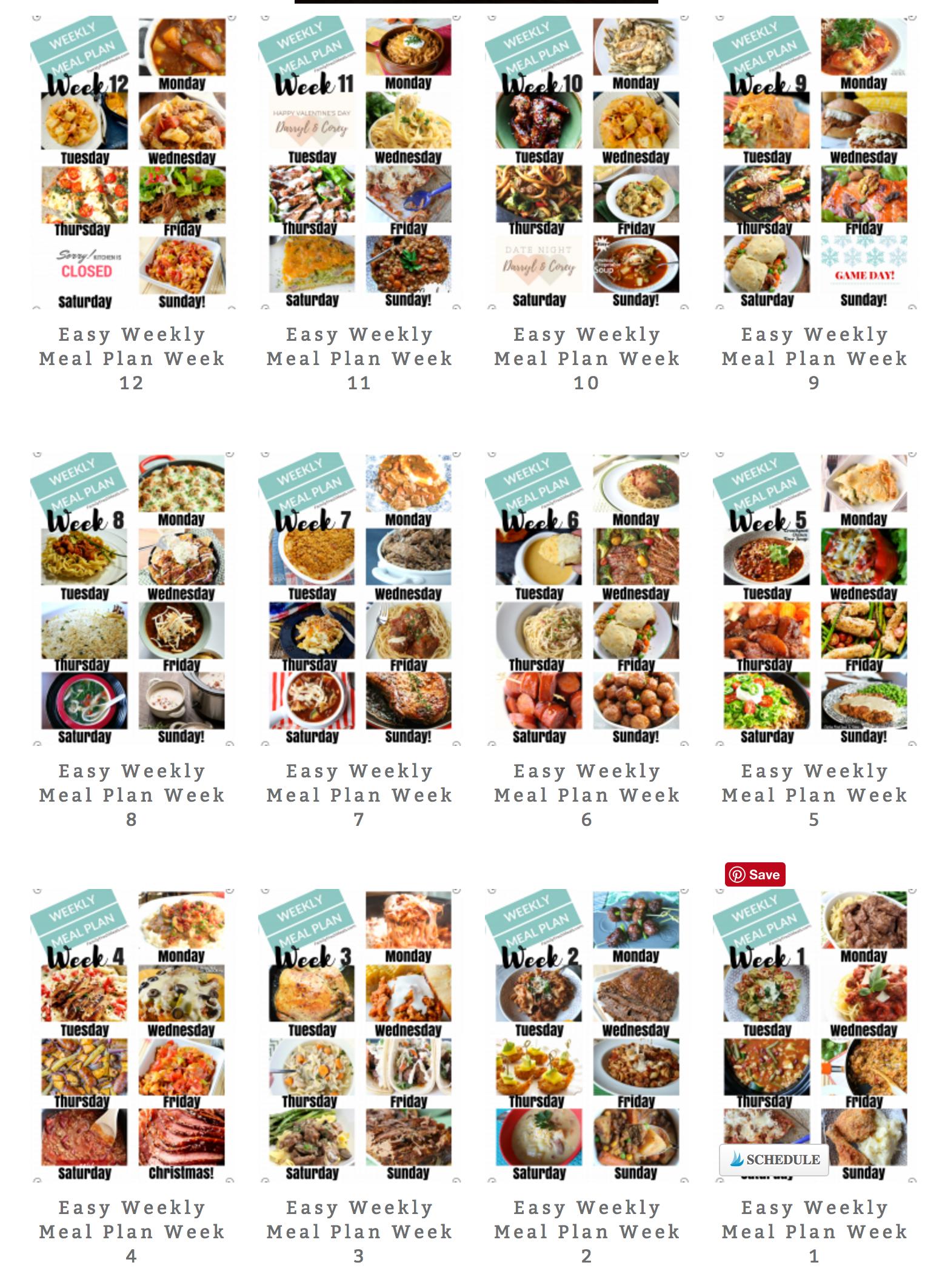 Easy Weekly Meal Plan Week 87 Easy weekly meals, Meals