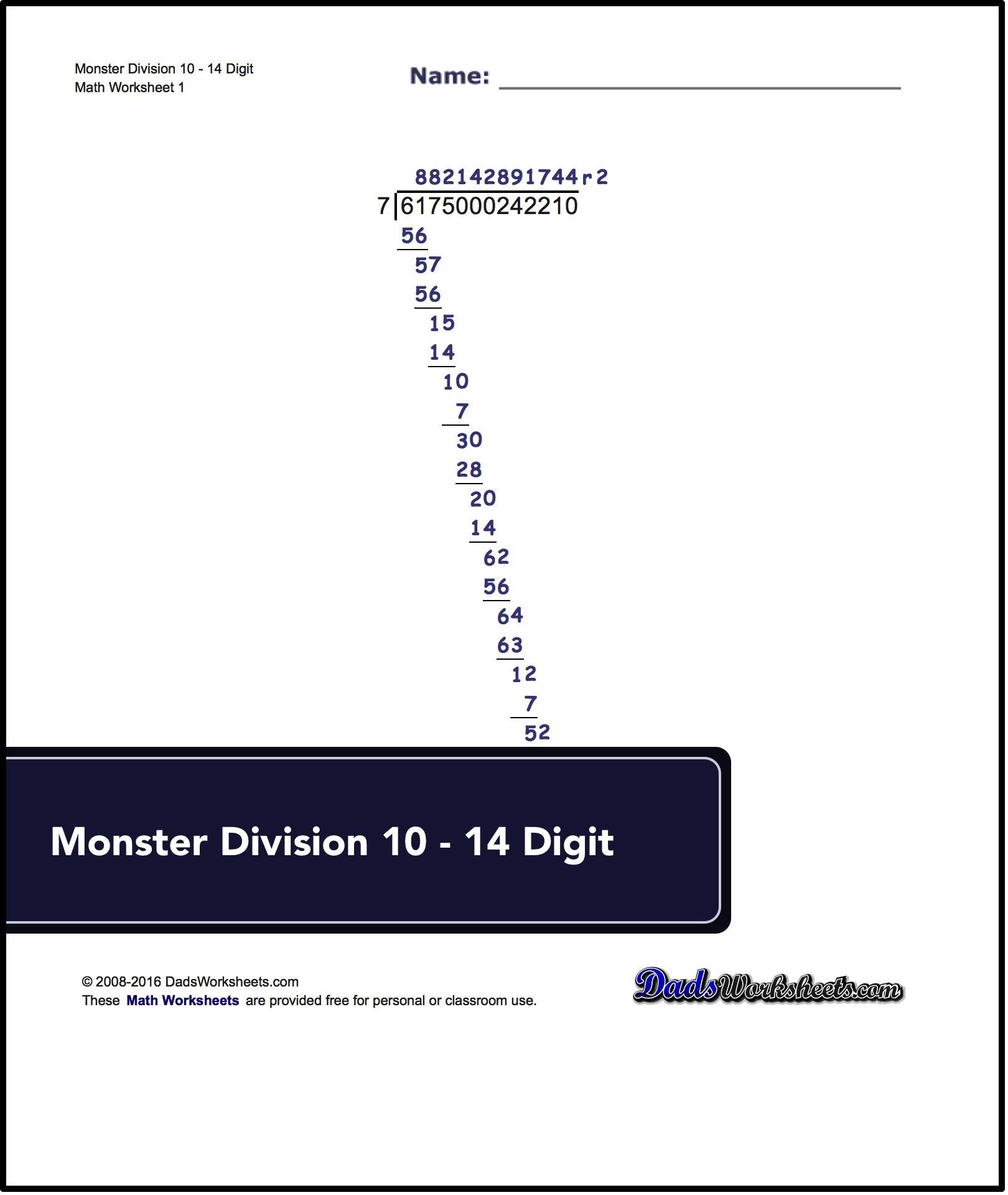 Long Division Worksheets For Monster Division 10
