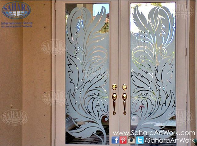 What Do You Think Of These Door Inserts With Sandblasted Leaves Design Window Glass Design Door Glass Design Glass