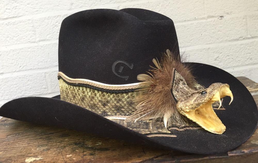 2340d21ab2ede Charlie 1 Horse Rattle Snake Head Cowboy Hat Western Sz 7 1 4 Orig Papers