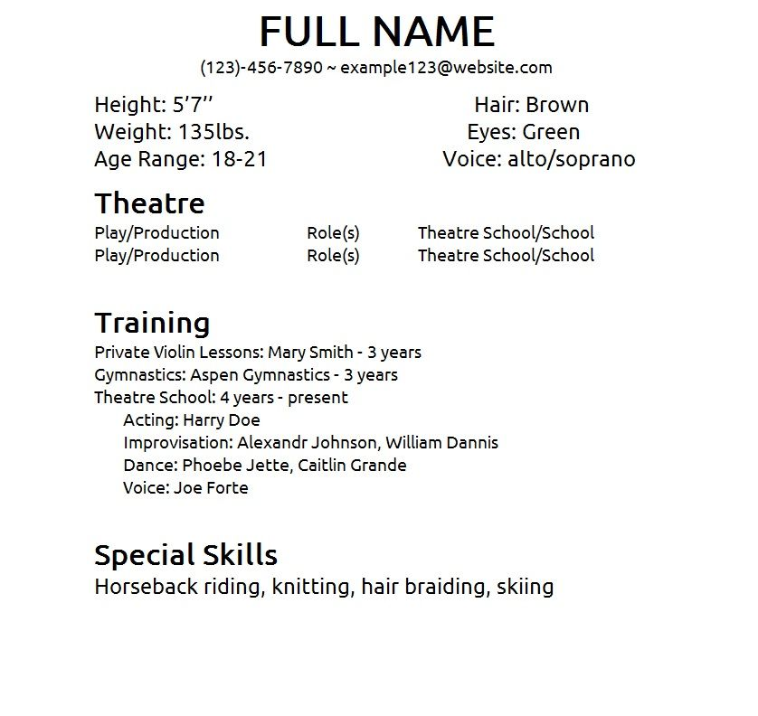 Theatre Resume Template Check More At Https Nationalgriefawarenessday Com 5826 Theatre Resume Template